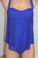 NWT Bleu Rod Beattie Swimsuit One 1 piece Halter Crochet Sz 6 Twilight