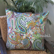 "Large 24X24"" Grey Pillow Cushion Cover Bohemian Floral Kantha Stitch Case Throw"