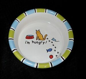 "Signature Cat Dish Pet Bowl 5"" Heavy Stoneware ""I'm Hungry"" Colorful Cute"