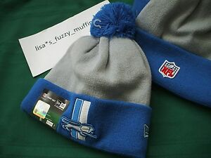 Detroit Lions New Era knit pom hat beanie RARE NFL On Field Authentic Throwback