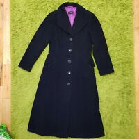 BERGHAUS COAT FITTED WOOL MIX BLACK LONG VICTORIAN GOTH OVERCOAT WINTER SIZE 12