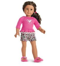 NIB American Girl Lovely Leopard PJs Pajamas with Shirt, Shorts, Slippers NEW!