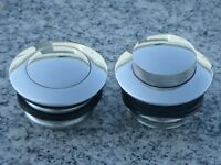 Harley Davidson Softail Dyna Glide Road King PAIR of CHROME FLUSH GAS CAPS