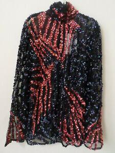 NEW Ladies MANÉ London Black Sheer Sequin Willow Top Size: UK 8 RRP: £295