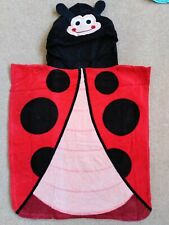 NEW LADYBIRD HOODED PONCHO TOWEL KIDS BOY GIRL BEACH SWIM