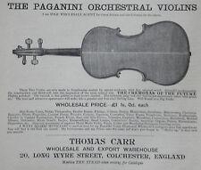 Thomas Carr Colchester Stradivarius Paganini Violin 1894 Advertisement Ad 8668