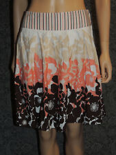 Wrapper Skirt Women's Stretchy Brown White Tan & Peach Floral Above Knee Pleated