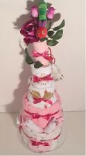NEW Baby Girl Very Hungry Caterpillar 5 Tier Nappy Cake on a bed of flowers