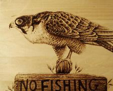"""THE REBEL"" FALCON/BIRD/ANIMAL ORIGINAL PYROGRAPHY/WOODBURNING DRAWING"