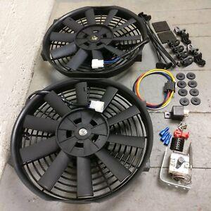"""1953-1986 Jeep CJ DJ Dual 10"""" 1149 CFM Cooling Fans Adj Temp Switch Kit T18 t177"""