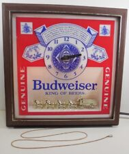 Vintage Budweiser KING OF BEERS Light-Up Display Sign Clock CLYDESDALE HORSES