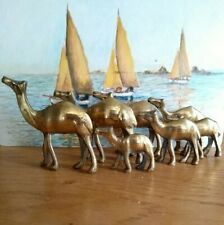 7 Camel's Figurines Antique  Brass