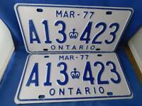 ONTARIO LICENSE PLATE 1977 MARCH LOT A13 423 SET CANADA VINTAGE  CAR SHOP SIGN