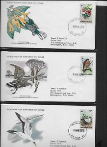 GRENADA 1978 3 FIRST DAY COVERS AND CARDS WORLD WILDLIFE FUND WILD BIRDS