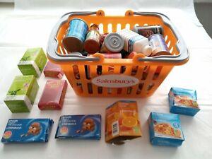 Kids Pretend Play Shopping Basket & Food