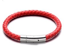 """6mm Genuine Leather Red Braided Round Bracelet 7"""" 316L Stainless Steel Clasp ."""