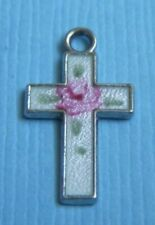 rose sterling charm Vintage enamel cross pink