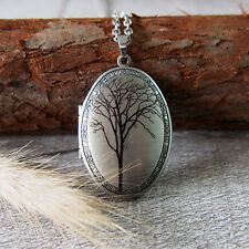 Picture Locket Pendant Chain Necklace Tree in Autumn Oxidized Silver Oval