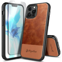 Leather Case For iPhone 12 Pro Max Mini, Shockproof Cover with Tempered Glass