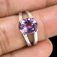 Top Quality Natural Amethyst Ring Sparkling Purple Gemstone 925 Sterling Silver
