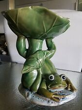 "Pottery ceramic 9"" tall Majolica FROG UNDER A LOTUS LEAF marked #72527 bowl"