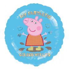 "18"" Peppa Pig Blue Golden Wellies Kid's Birthday Party Round Foil Balloon"