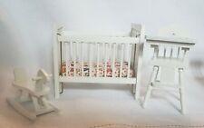Dollhouse Miniature 1:12 Nursery Furniture Crib Highchair Rocking Horse
