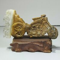 Natural crystal, quartz cluster mineral specimen, hand sculpture, motorcycle