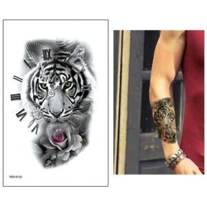 BENGLE TIGER & ROSE Temporary Tattoo 🇬🇧 Mens Unisex Fake Body Art Transfers 🐾