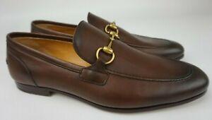 Gucci Jordaan Cocoa Leather Horsebit Bit Dress Loafer Men's Size UK 10 /US 11