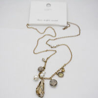 ann taylor LOFT gold tone cut crystals glass stone pendant faux pearl necklace