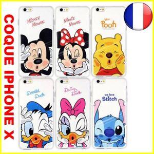 Carcasa Apple IPHONE X 10 Funda Mickey Minnie Stitch Daisy Donald Winnie Disney