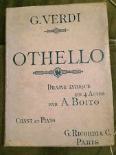 Verdi Othello opéra partition chant piano version française Boito Ricordi