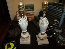 Pair of Vintage Marble Base Pink Flower Dresser Nightstand Bedside Table Lamps