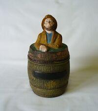 Antique Pottery Tobacco Jar - -19th c Fisherman/Trawlerman On  Finial Of Jar Lid