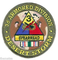 """ARMY 3RD ARMORED  DIVISION DESERT STORM  RIBBON  4"""" EMBROIDERED MILITARY PATCH"""
