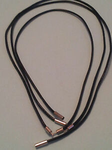 2MM BLACK REAL LEATHER CHOKER NECKLACE CORD WITH SILVER PLATED BAYONET CLASP