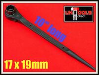 "RATCHET PODGER SPANNER 17 x 19mm 10"" LONG **STEEL ERECTING**"