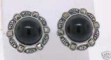 Marcasite Sterling Silver Elegant Round Black Onyx Button Stud Earrings ELEGANT