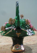Vintage Venetian enameled green glass basket with Gold Trim & Flowers, USC#407