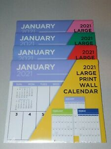 2021 Large Print Wall Calendar - NEW Sealed - Easy to See and Write On