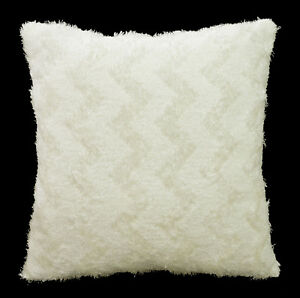 fd01a Cream White Soft Fleece Zig Zag Wave Cushion Cover/Pillow Case Custom Size