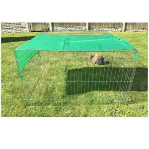 Outdoor Pet Enclosure & Sun Shade Dog Chicken Cat Rabbit Run with Metal Roof Pen