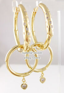 FLOWER STEM Authentic PANDORA Shine GOLD Plated HOOP Earrings 267927CZ w POUCH!