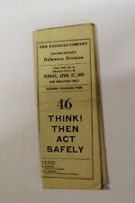 1952 Erie Railroad Employee Time Table #46 Eastern District Delaware Division