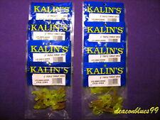 "Lot of 8 - Kalins Triple Threat Grubs - Curly Tail Grubs 2"" - Green Weenie"