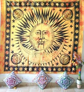Queen Tapestry Sun Moon & Star Cotton Textile Bedcover Ethnic Wall Hanging Art