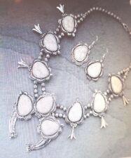 best seller huge enhanced white stone najavo squash blossom necklace& earrings