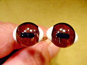 a pair vintage solid Glass Eyes size 21 mm teady bear taxidermy age 1910 A 1152