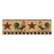 Barnyard Roosters on Gold with Folk Art Stars Wallpaper Border YC3402BD
